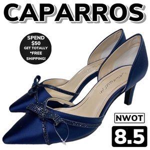 NWOT CAPARROS Satin Embellished Pumps (8.5)
